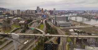 Overcast Skies Downtown Portland Oregon Highway Traffic Moving North on Interstate 5 royalty free stock photography