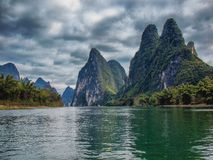 Crossing the Li River stock image