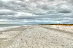 Overcast skies over Tigertail Beach. On Marco Island, Florida stock image