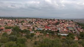 Township arial view with a cloudy sky in the background stock video footage