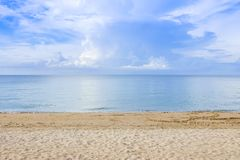 The overcast sky with cloud at sea at Chaolao Tosang Beach Chant. Haburi Thailand Royalty Free Stock Photo