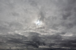 Overcast sky with dark stormy rain clouds. Nature grey background Royalty Free Stock Images
