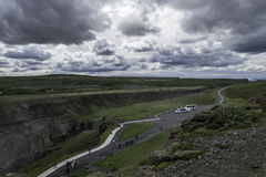 Overcast Sky. One spot every tourist visiting Iceland must see is the beautiful Gullfoss (Golden Waterfall Stock Image