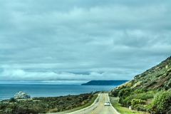 Overcast sky over Pacific Coast Highway Stock Image
