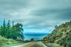 Overcast sky over Pacific Coast Highway, Royalty Free Stock Image