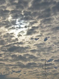 Overcast sky. With sun in cloudy day stock photography