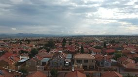 Overcast sunset of a township in Pretoria stock footage