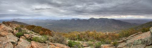 Overcast Wilpena Pound. A moody, overcast, sky above the Wilpena Pound formation. Flinders Ranges National Park, South Australia royalty free stock photo