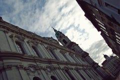Winter Street skyline Prague Royalty Free Stock Photos