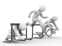 Overcome barriers. Barriers, group of the people on white background Royalty Free Stock Image