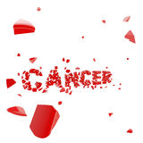 Overcome cancer, word broken into pieces Royalty Free Stock Photography