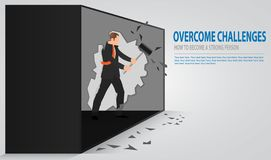 Man cracking old concrete wall. Businessman smashing a wall with a hammer. The notion of breaking down barriers and achieve goals. stock illustration