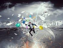 Overcome crisis break . Mixed media Royalty Free Stock Image