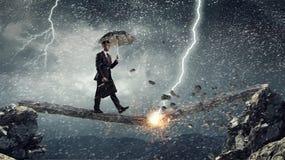 Overcome fear of failure . Mixed media Stock Photo