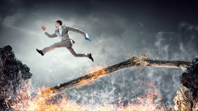 Overcome fear of failure . Mixed media Royalty Free Stock Image