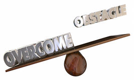 Overcome Obstacle See Saw Beyond Problem. Overcome Obstacle See Saw 3d Words Beyond Problem Stock Image