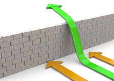 Overcome Obstacles - 3D. Arrows overcome a white wall Royalty Free Stock Images