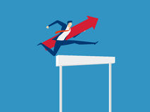Overcome obstacles and success concept. Businessman holding red arrow jumping over hurdle race obstacle. Cartoon Vector Illustration Stock Images