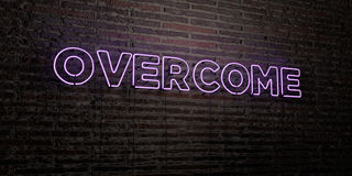 OVERCOME -Realistic Neon Sign on Brick Wall background - 3D rendered royalty free stock image. Can be used for online banner ads and direct mailers Royalty Free Illustration
