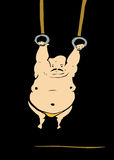 Overcoming Adversity. Original screen print of a fat gymnast hanging on Royalty Free Stock Photos