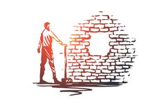 Overcoming, aim, goal, achievement concept. Hand drawn sketch isolated illustration. Overcoming, aim, goal, achievement vector concept. Man with showel standing vector illustration