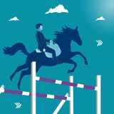 Overcoming business obstacles. Businessman jumping on his horse over obstacles. Business metaphor, vector illustration Royalty Free Stock Photo