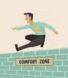 Overcoming comfort zone. Businessman overcoming comfort zone.Vector illustration royalty free illustration