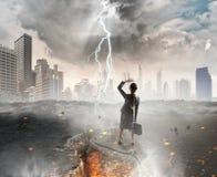 Overcoming crisis break . Mixed media Stock Images