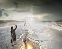 Overcoming crisis break . Mixed media Royalty Free Stock Photo