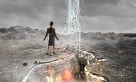 Overcoming crisis break . Mixed media Royalty Free Stock Images