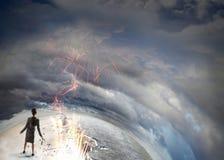 Overcoming crisis break . Mixed media Stock Photos