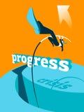 Overcoming the crisis. Progress. Pole vault. Royalty Free Stock Photos