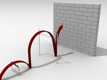 Overcoming the difficult barriers. Successful overcoming the difficult barriers stock illustration