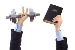 Overcoming difficulties. Businessman overcoming all difficulties because it works according to the Word of God Stock Images