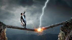 Overcoming fear of failure . Mixed media . Mixed media royalty free stock photo