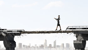 Overcoming fear of failure . Mixed media Royalty Free Stock Photography