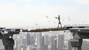 Overcoming fear of failure . Mixed media Royalty Free Stock Images