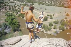 Overcoming fear by taking a leap of faith in Sante Fe New Mexico Royalty Free Stock Photography