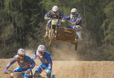 Overcoming the horizon by a jump in the sidecar race Stock Image