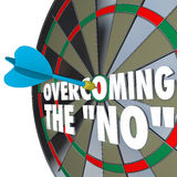 Overcoming the No Dart Bulls-Eye Dartboard Persuading Agreement. The words Overcoming the No on a dartboard with one dart hitting the center bulls-eye to win the vector illustration