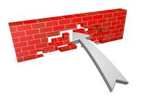 Overcoming obstacles concept with wall Stock Photos