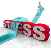 Overcoming Stress Beating Anxiety Jumping Over Word Royalty Free Stock Image