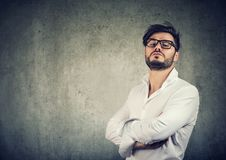Free Overconfident Stylish Man In Glasses Royalty Free Stock Image - 118987356