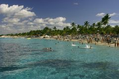 Overcrowded. Beach of Catalina Island,Dominican republic Royalty Free Stock Image