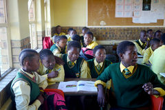 Overcrowded African classroom Stock Images