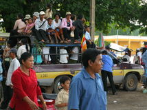 Overcrowded bus. Phnom Penh. Cambodia. Royalty Free Stock Image