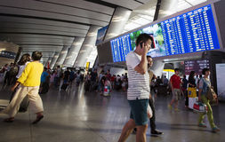 Overcrowded Chinese railway station Stock Images