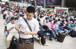 Overcrowded Chinese railway station Royalty Free Stock Photos