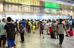 Overcrowded Chinese railway station Stock Photography