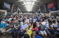 Overcrowded Chinese railway station Stock Photos